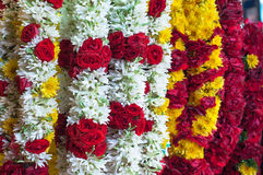 White Red Yellow Garland in the Thailand Market for Sale Royalty Free Stock Photos
