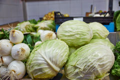 White and redhead cabbage, onions Stock Image