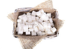 White refined sugar is a bunch in a basket Stock Photography