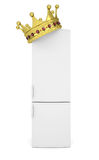 White refrigerator and gold crown Stock Photo