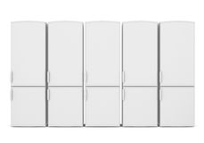 White refrigerators Stockbild
