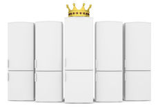 White refrigerators and gold crown Stockbild