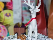 White reindeer for table decoration royalty free stock images