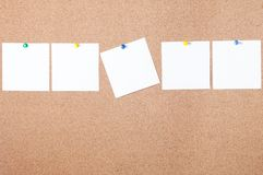 White reminder sticky note on cork board, empty space for text Royalty Free Stock Image