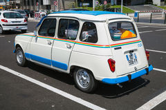 White Renault 4 retro city car, rear view Royalty Free Stock Photography