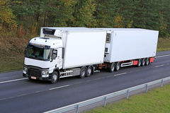 White Renault T Reefer Truck on Motorway Royalty Free Stock Photos