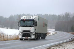 White Renault Trucks T Hauls Cargo in Winter Stock Image
