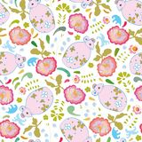 White pattern with pink mouse and flowers. vector illustration