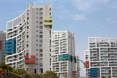 White Residential buildings with colored balconies in Pudong Stock Photography