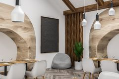 White restaurant corner close up, wooden sofas vector illustration
