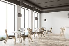 White restaurant corner. With a wooden floor, round white tables and gray and wooden chairs. 3d rendering mock up Royalty Free Stock Photography