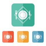 White restaurant menu icon. Plate, fork, knife on napkin Stock Image