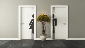 White restroom doors for male and female genders. White restroom doors with wall 3D design and rendering for your project Royalty Free Stock Photography