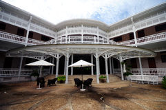 White retro building. In Hua Hin, Thailand Royalty Free Stock Images
