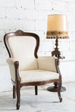 White Retro Chair with Lamp Stock Photos