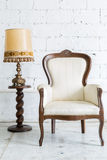 White Retro Chair with Lamp Stock Photo