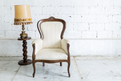 White Retro Chair with Lamp Stock Images