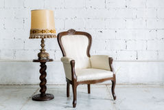 White Retro Chair with Lamp Royalty Free Stock Photo