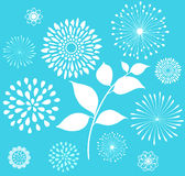 White Retro Floral Clipart  on Blue Background Royalty Free Stock Photography