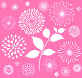 White Retro Floral Clipart  on Pink Background. Unique & stylish vintage inspired white boho  floral theme clipart  on a pink background Royalty Free Stock Images