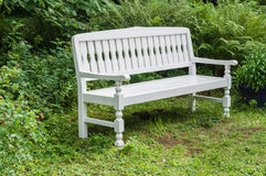 White retro style wooden bench Stock Photo