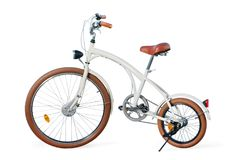 White retro stylized custom cruiser bike with clipping. White retro stylized custom cruiser bike. on white, clipping path included royalty free stock images