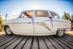White retro wedding car Royalty Free Stock Images