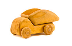 on white retro wooden toy truck Stock Images