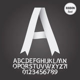 White Ribbon Alphabet and Digit Vector Royalty Free Stock Image