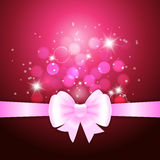 White ribbon and bow on crimson background. Vector illustration for Valentine's day and Christmas posters, icons, Valentine's day and Christmas greeting cards Stock Photos