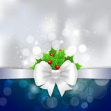 White ribbon,  bow and holly berry on silver background.  Stock Photo