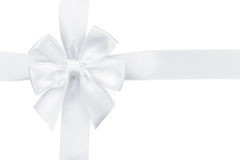 White ribbon with bow. Isolated on white background Stock Images