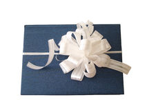 White ribbon tied blue book. Over white background Royalty Free Stock Photos