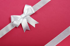 White ribbon whith bow Royalty Free Stock Photo