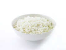 White Rice; 1 of 2. White rice in a bowl with a white background (front view version Royalty Free Stock Photos