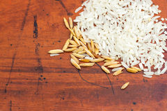 White rice background, uncooked raw cereals Royalty Free Stock Photos