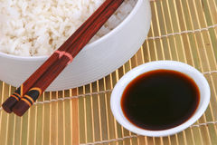 White rice on bamboo mate Royalty Free Stock Images