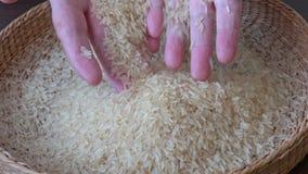 White rice in basket. Organic food rice