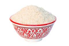 White Rice bowl. Isolated white background closup Royalty Free Stock Photography
