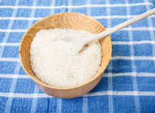 White Rice in Bowl with Wood Spoon Royalty Free Stock Photography