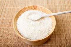 White Rice in Bowl with Wood Spoon Stock Photos