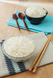 White rice in bowl with wooden chopsticks Stock Photography