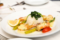 White Rice with Broiled Shrimp Stock Images
