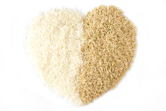 White rice and brown rice heart Stock Image