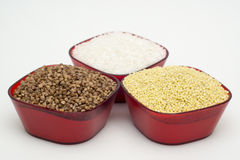 White rice, buckwheat and barley Stock Image