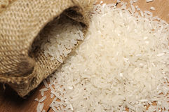 White Rice In Burlap Back Stock Images