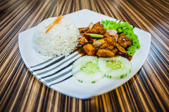 White Rice with Chicken Stock Photos