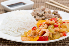 White rice, chicken and vegetables with shrimp Royalty Free Stock Photos