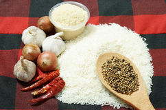 White rice and Food ingredients Royalty Free Stock Images