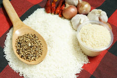 White rice and Food ingredients Royalty Free Stock Photos